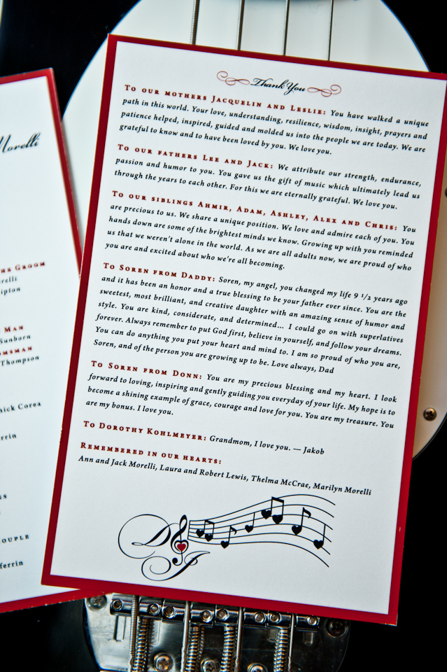 2-sided ceremony program designed by Francesca @ Trilogy Event Design for a couple in the music industry. Photo by BG Productions
