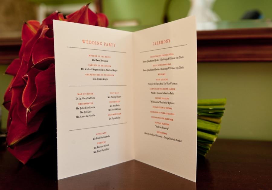 Letterpress printed ceremony program designed by Francesca. Photo by BG Productions