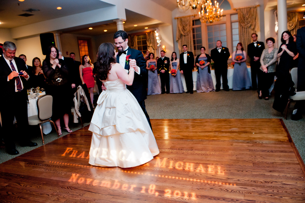 Photo by BG Productions. Monogram light design by Francesca @ Trilogy Event Design. Venue: Joseph Ambler Inn
