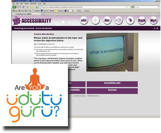 Screenshot of the Accessibility Module and the Udutu Guru Contest Logo