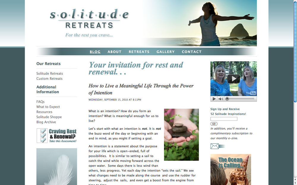Solitude Retreats Web Site