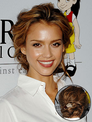 Jessica Alba with honey highlights