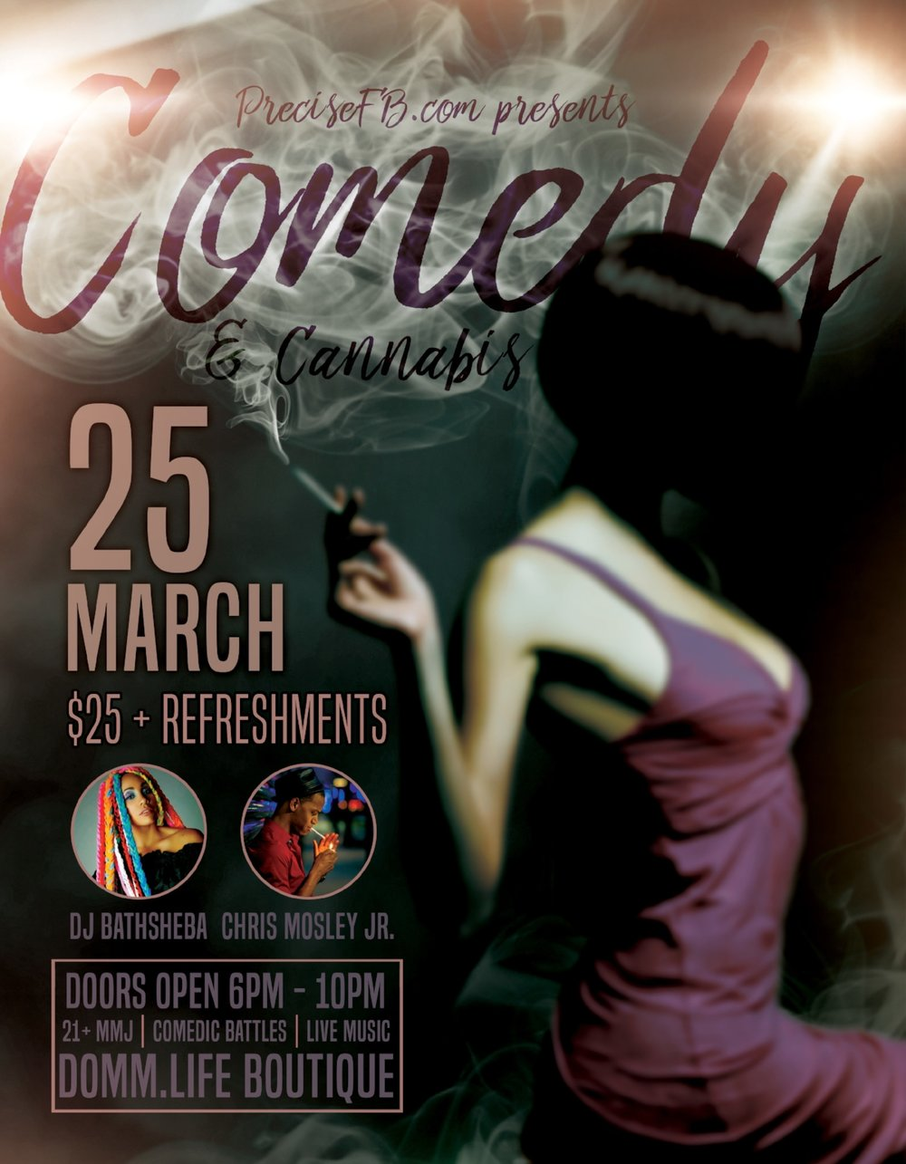 Comedy & Cannabis starts March 25th at DOMM.Life