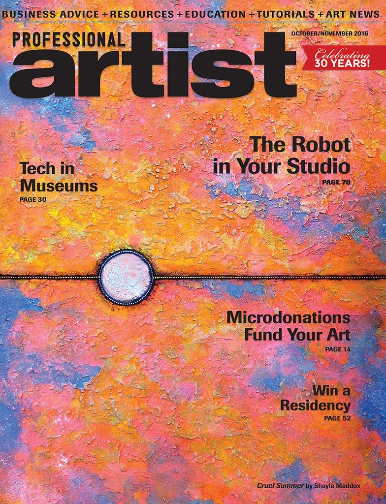 My artwork featured on the cover of the October/November 2016 issue of Professional Artist magazine.