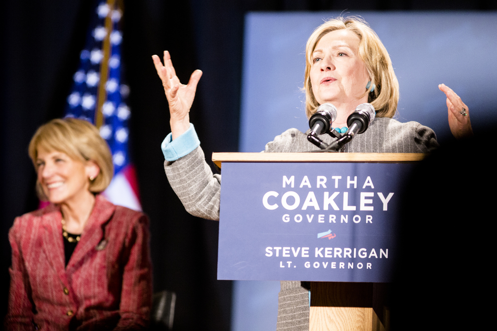 Former secretary of state Hillary Clinton joins Martha Coakley for a campaign rally at Boston Park Plaza on the 24th of October, 2014. Photo By Ann Wang