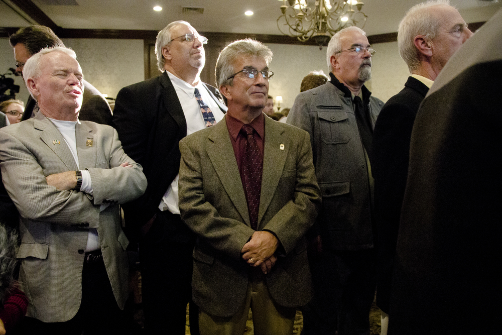 Manchester, NH, USA. Nov.4, 2014. Shaheen supporters wait at the Puritan conference center for the results for the senate race. Photo by Ann Wang