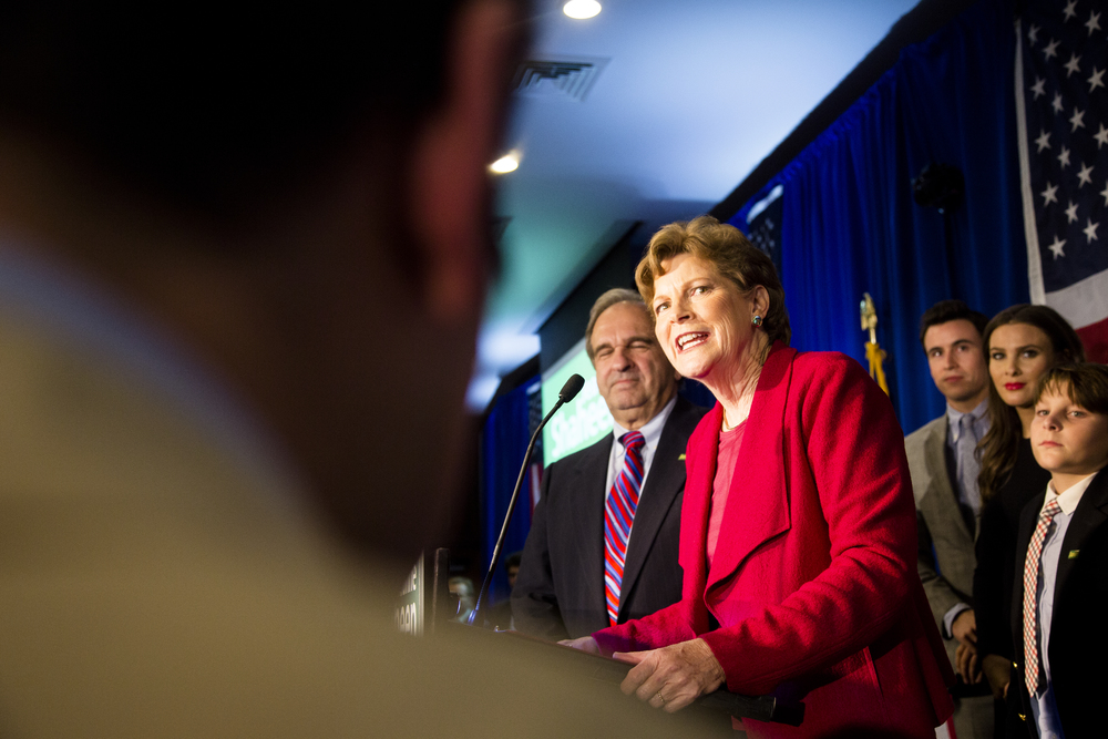 Manchester, NH, USA. Nov.4, 2014. Shaheen defeats Brown to keep Senate Seat. Shaheen making her winner speech at the Puritan conference center. Photo by Ann Wang
