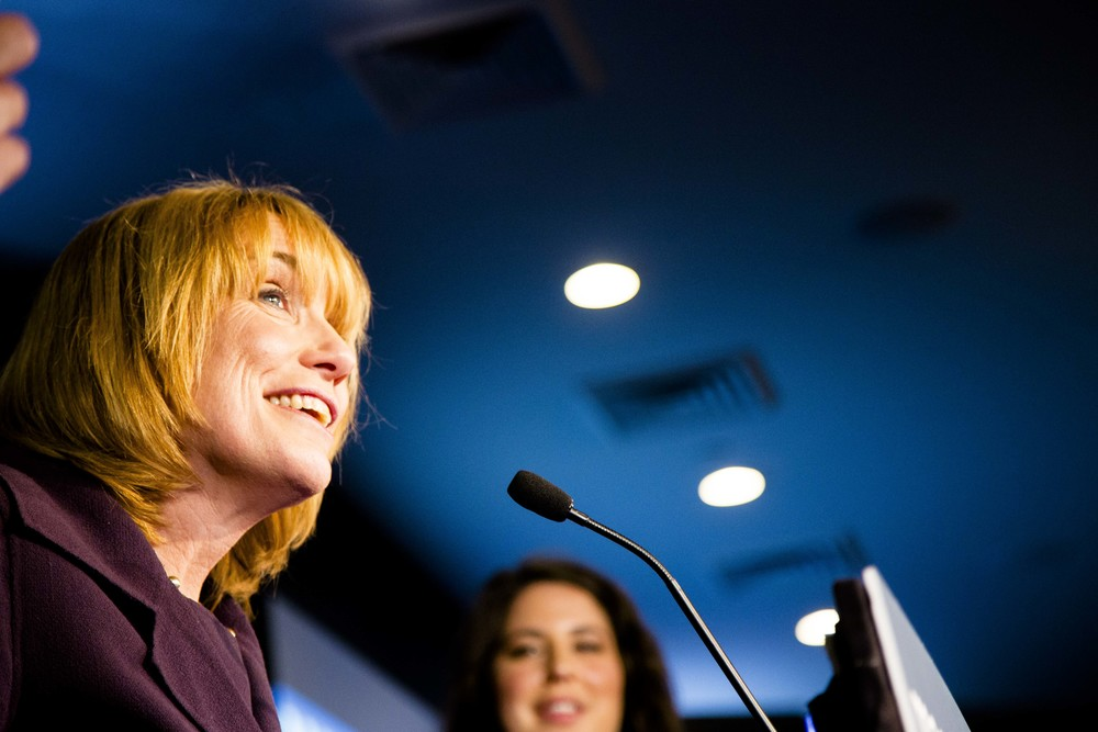 Manchester, NH, USA. Nov.4 , 2014. Maggie Hassan giving her winning speech at the Puritan conference center. Photo by Ann Wang