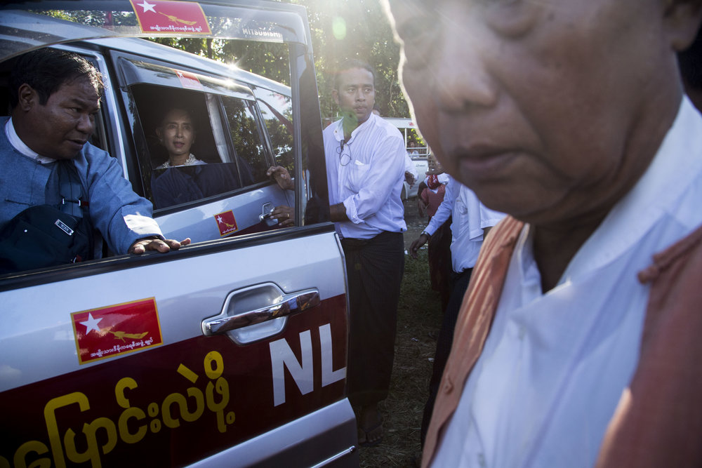 Daw Aung San Suu Kyi gave a speech in Taungok, Rahkine state during a campaign rally for the upcoming general election on October 16, 2015.  Human rights issue for Muslims and recent violent clashes, caused the National League for Democracy to add volunteers to protect the lady for her speech. According to NLD members, the volunteering security guards went from the usual 20 to 30 people up to 230  people on duty. Photo by Ann Wang