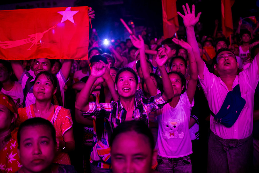 NLD supporters gather in front of NLD head office in Yangon at the night of the election. The results of the election won't be announced in a couple more days, and the transaction of the government won't happen until the beginning 2016. Photo by Ann Wang