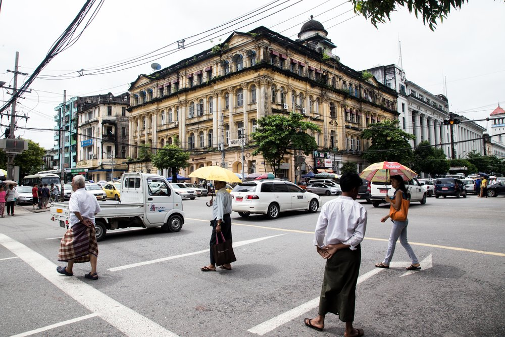 The century old Sofaer & Co building in downtown Yangon, Myanmar in 2015. Photo by Ann Wang