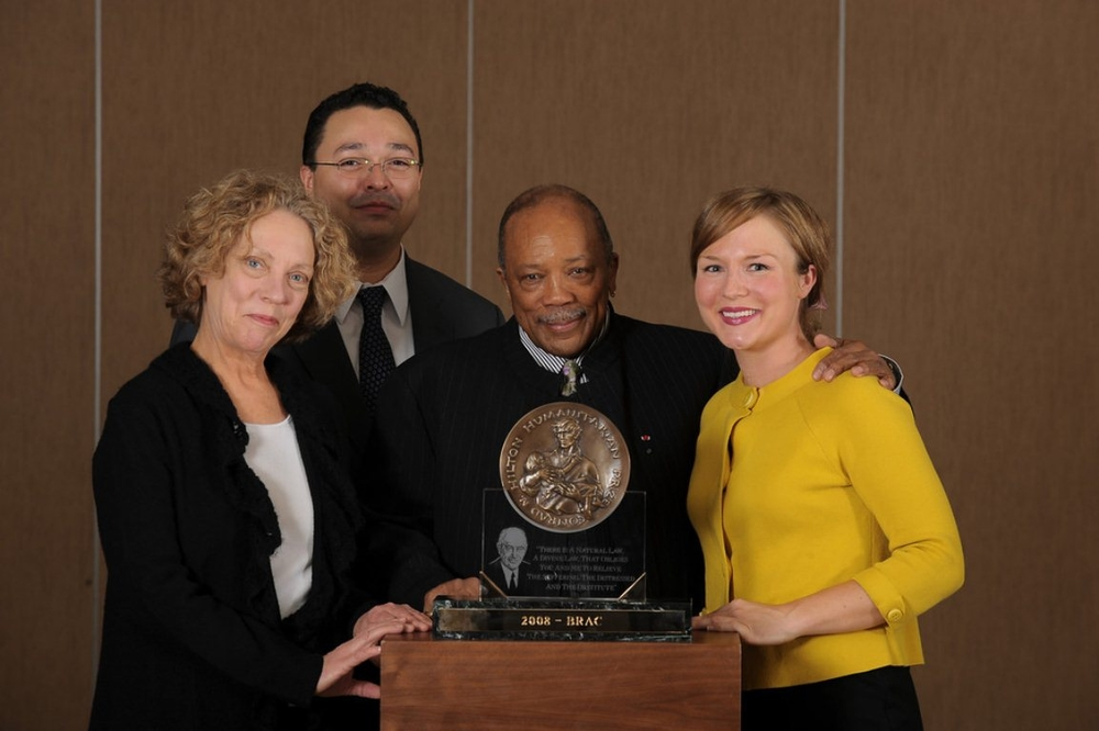 Hilton Prize team with Quincy Jones, Geneva, Switzerland 2008