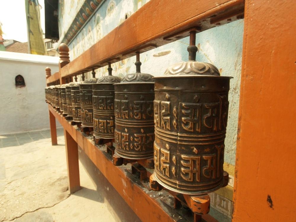 Prayer wheels at Swayambhunath Stupa, Kathmandu, Nepal