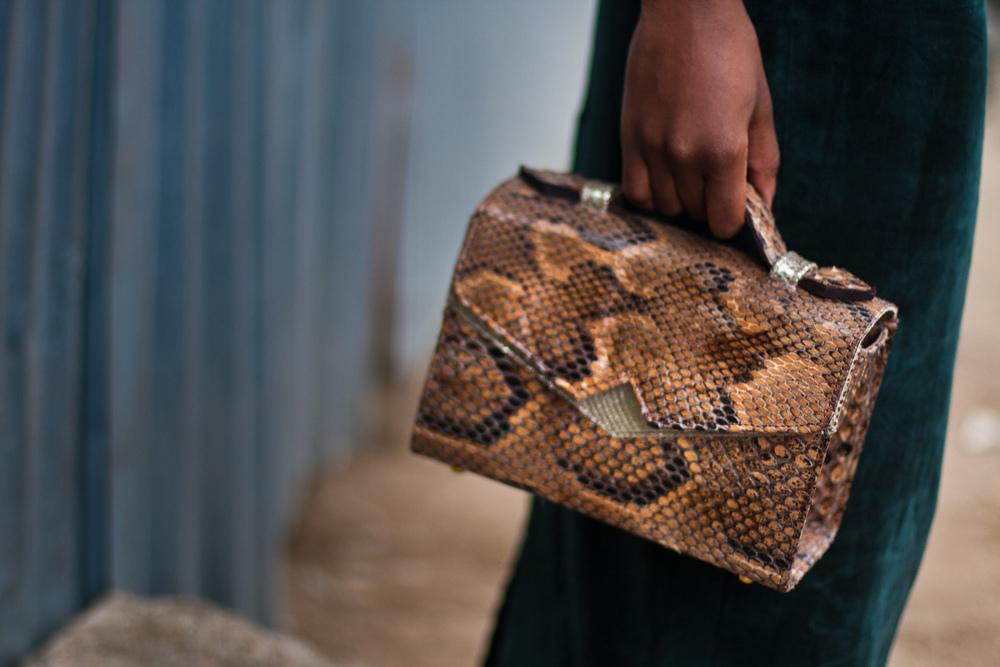 'TKO' handbag - snakeskin and leather