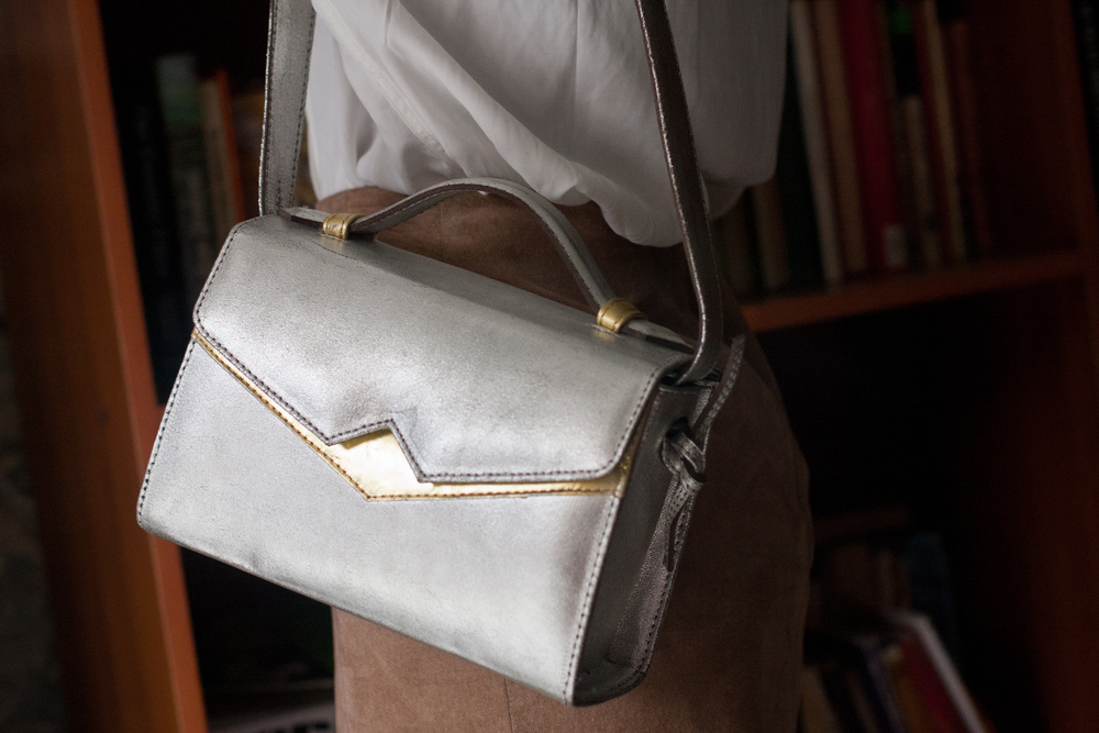 Metallic 'TKO' handbag
