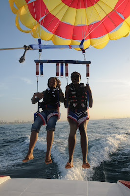 Parasailing over the ocean...