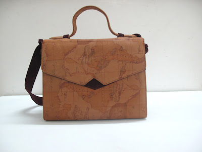 Brown map print leather and deep plum, larde size 12x9x6""