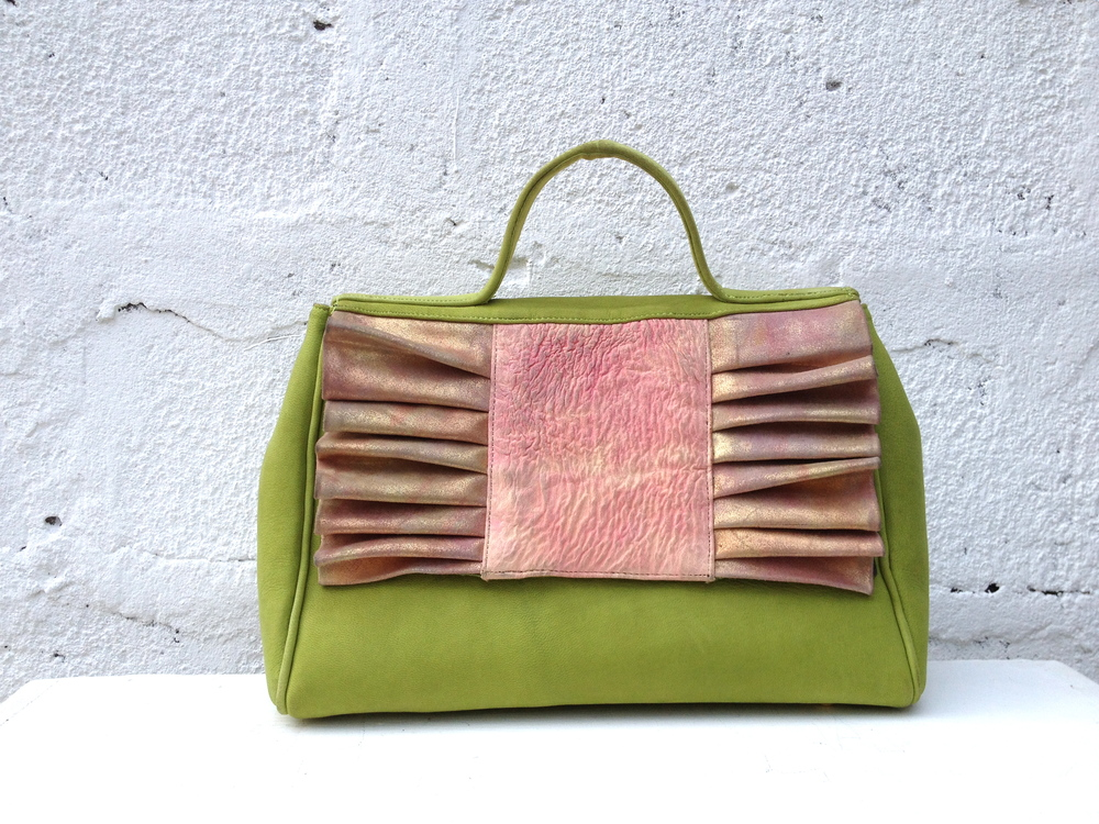 Green suede and metallic pink Pleats Please A
