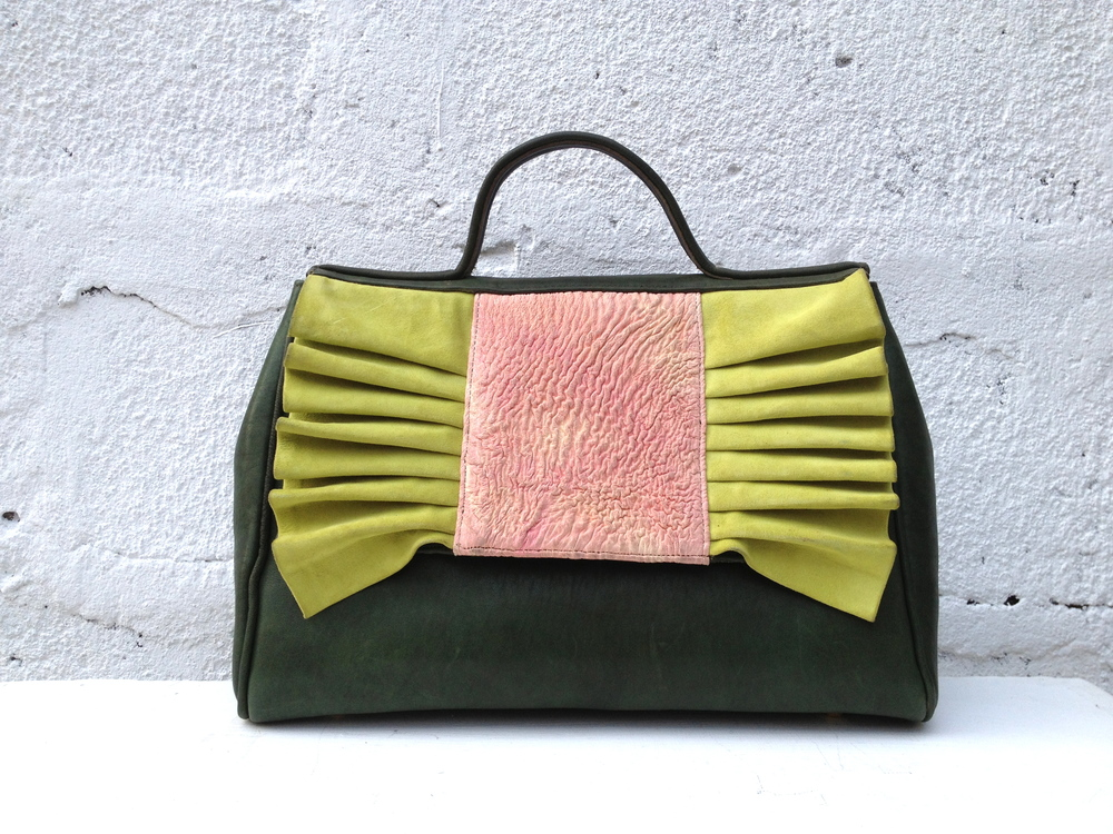 Moss green, apple green suede and pink Pleats Please A