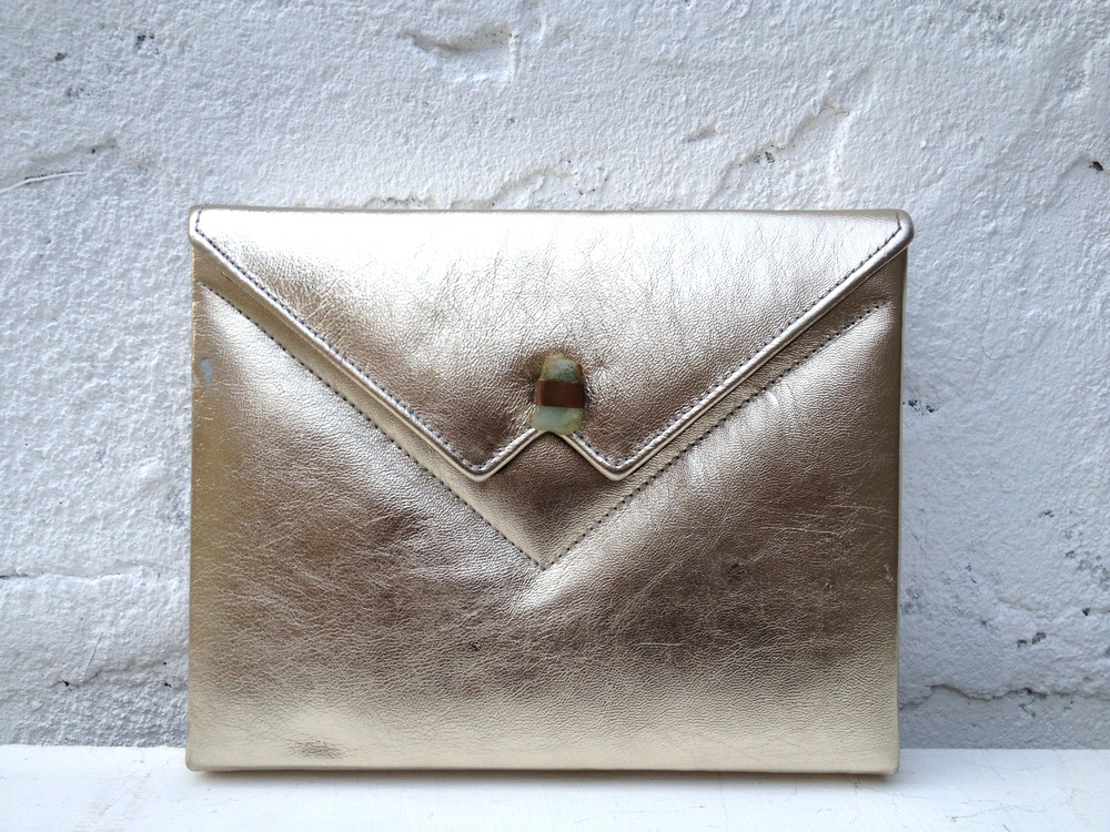 Muted gold metallic Box Clutch and Jade stone A