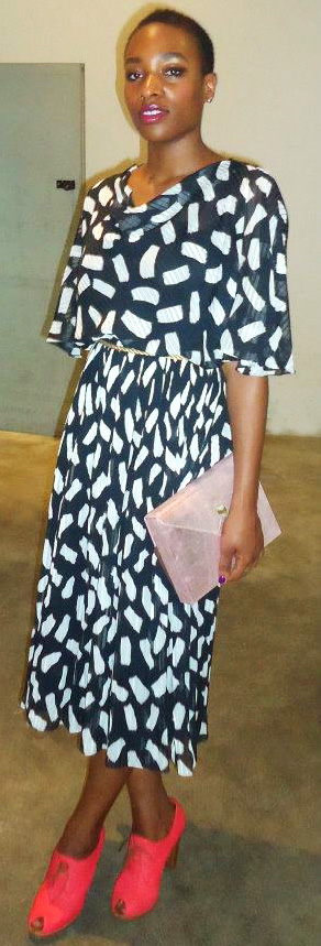 Karimah with her pink distressed Zashadu Box Clutch, vintage dress, Hobbs Shoes.