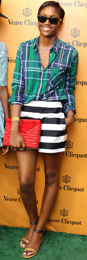 Zara with her red vintage Aso Oke Box Clutch