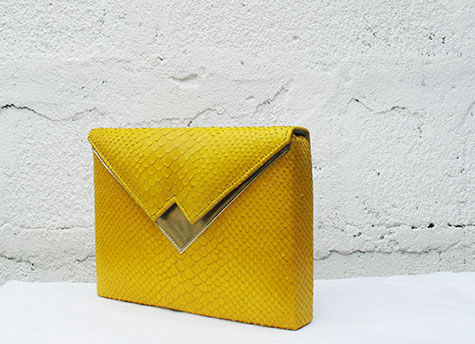 Yellow snake print SS14 Box Clutch
