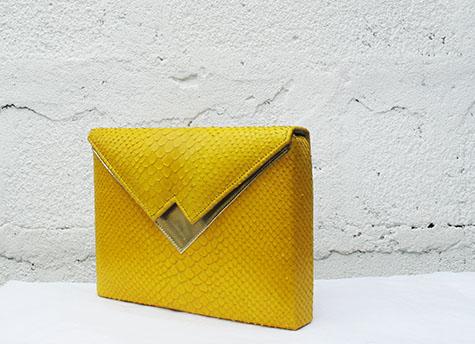 Yellow snake print SS14Box Clutch