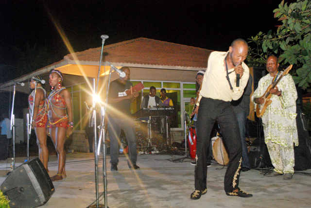 Seun Kuti performs his electrifying show at the Private view.