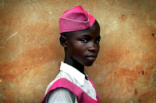 Living in Nigeria, one comes across the most colourful uniforms. What could brighten your day up your day more than Fuschia pink? Image by Barbara Davidson