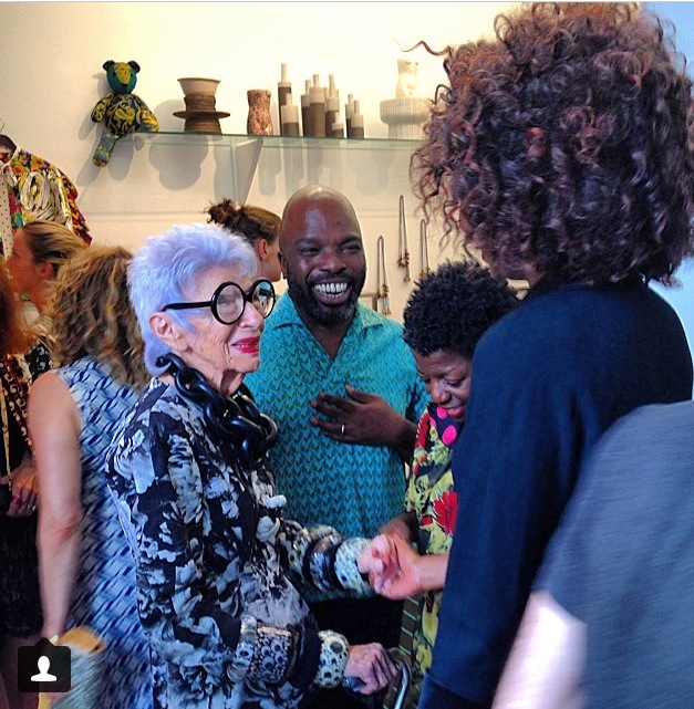 June 27th, At Duro Olowu's More Material exhibition opening. Meeting the incredibly stylish Iris Apfel