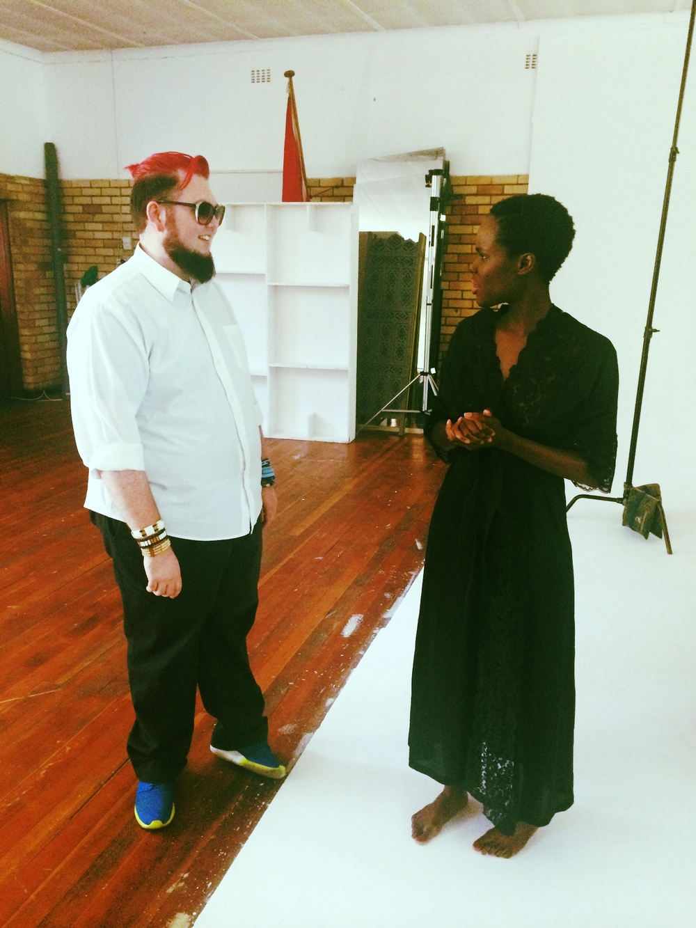 Creative Director, AFI Prive, Kyle Boshoff and our beautiful model discussing ideas.