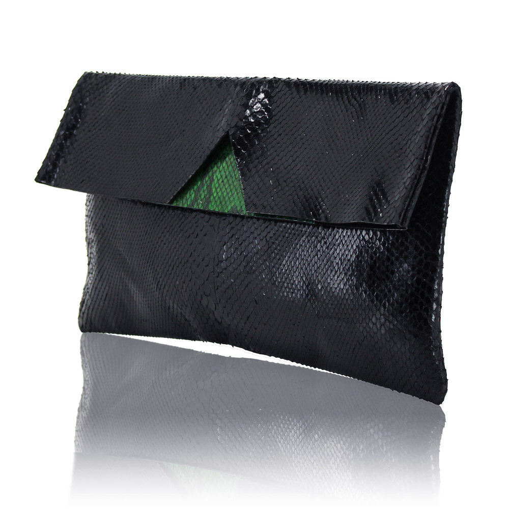 Black Python Easy Fold Pouch