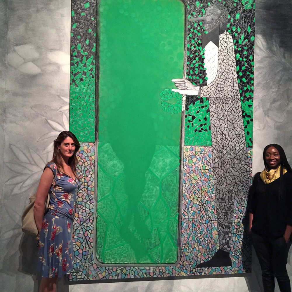 MariaPia, my new Italian sister, and I next to Chris Ofili great piece