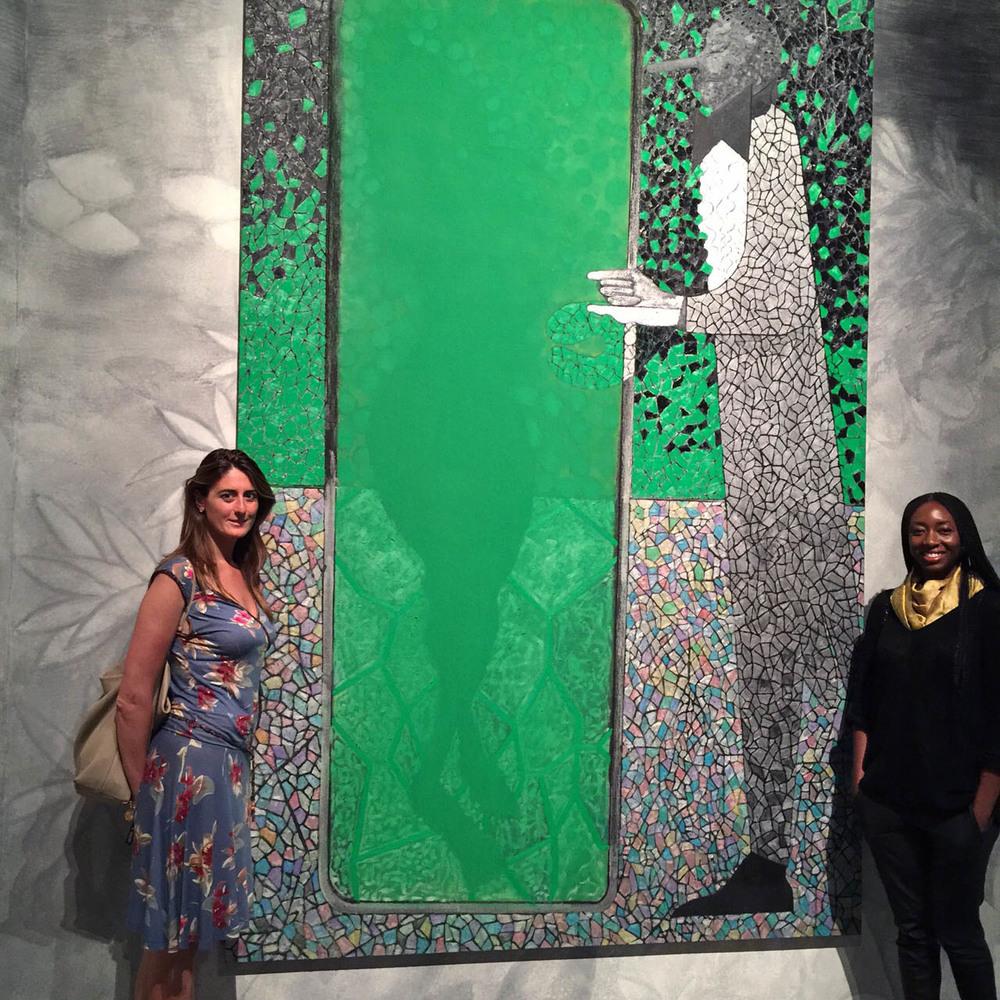MariaPia, my new Italian sister, and I next to Chris Ofili great piece