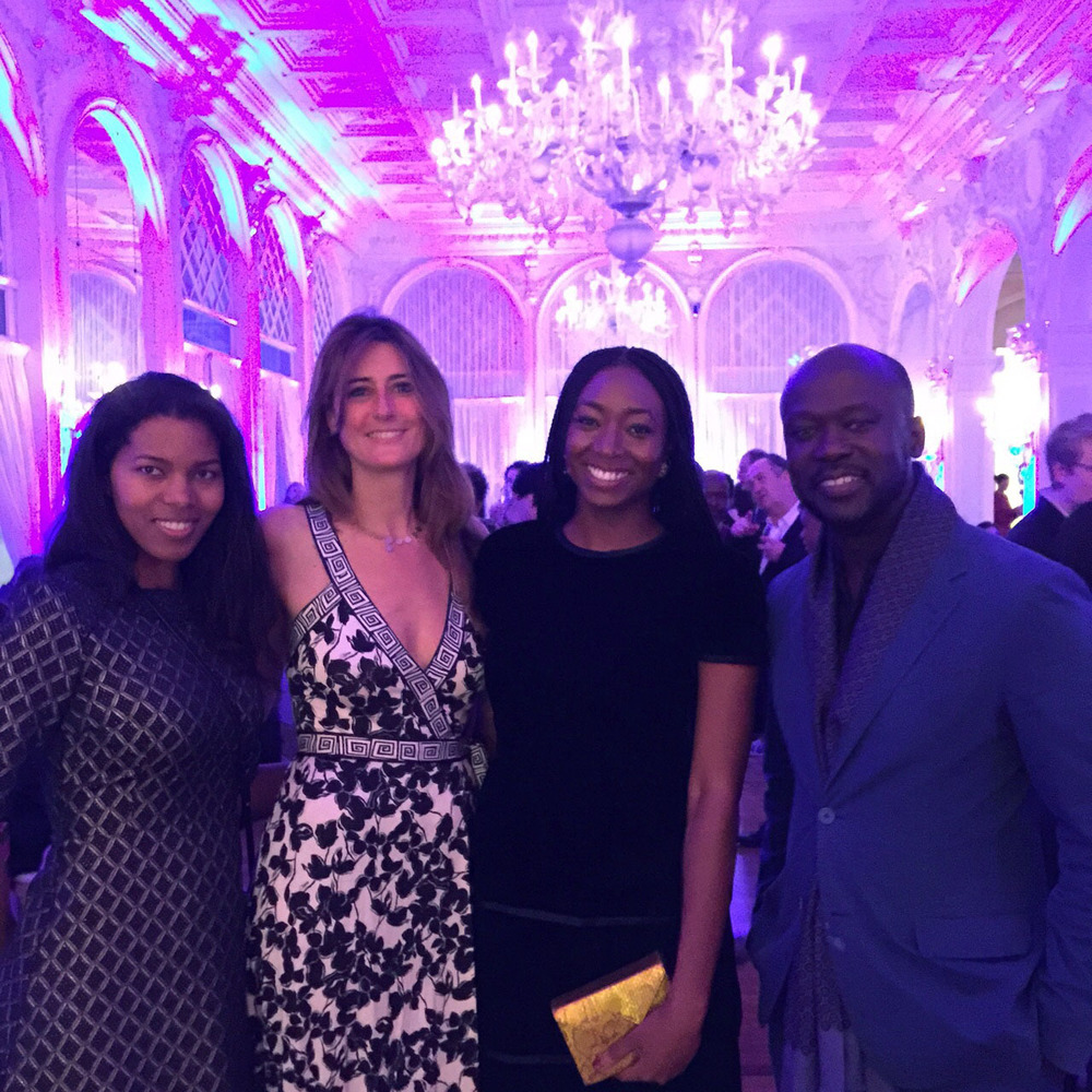 Left to right, Ashley, Model and beautiful wife of David Adjaye, MariaPia, I, and David Adjaye, superstar architect and fun loving person at the Ford Foundation Party for the biennale.