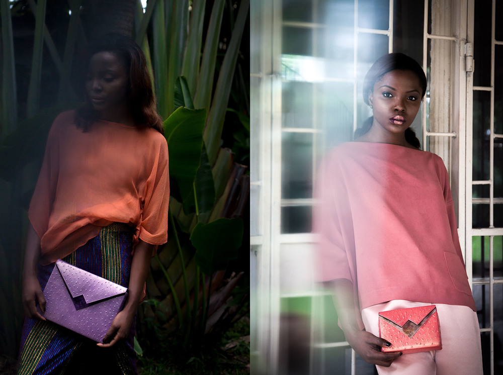 Box Clutch Classic and Mini in our season favourite, lilac and salmon pastel and metallic Ostrich print leather