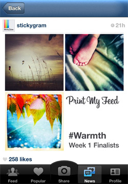 Stickygrams Week 1 Finalist - Kim Campbell, lower left photo.