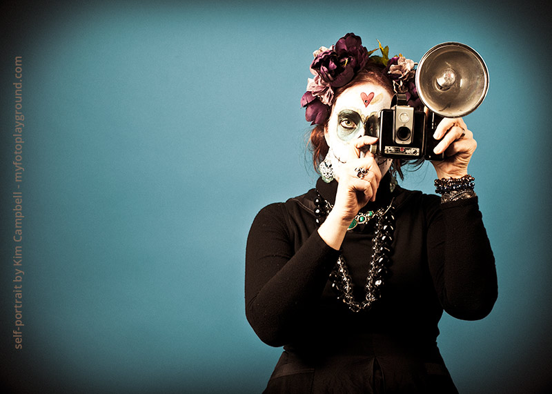 Camera Obscura by fine art photographer Kim Campbell. Sugar skull photography and makeup.