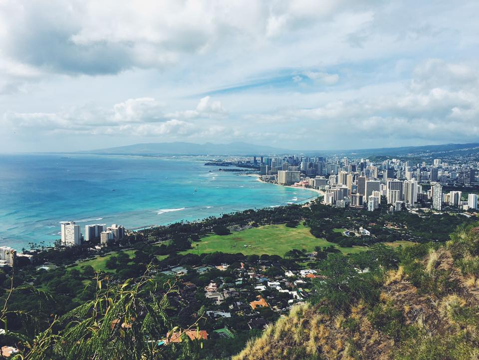 View from top of Diamond Head overlooking Waikiki.