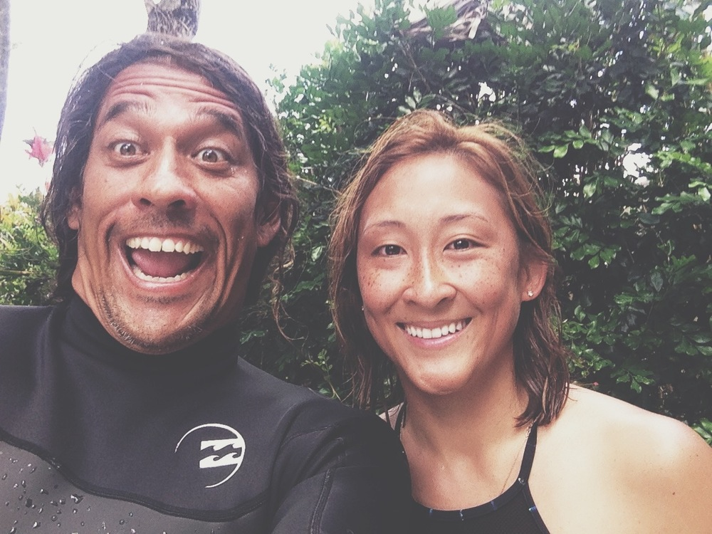The man, Tamayo. Post surf selfies. Stay in the moment, no cameras or technology out in the water!