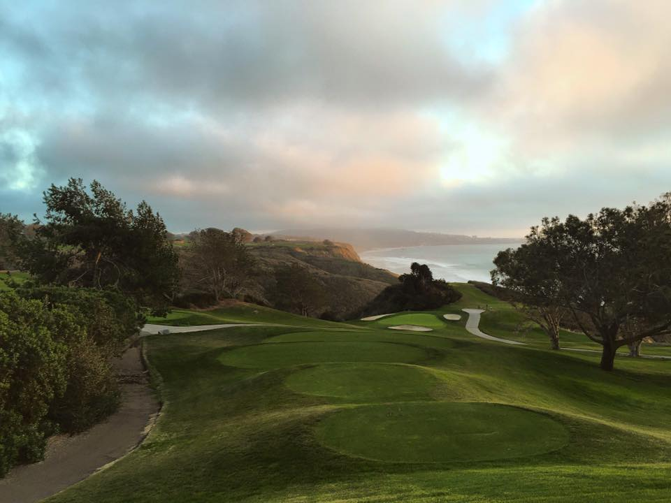 One of the most amazing vantage points on one of the most beautiful courses . A little haze, but a lot of beautiful west coast light. [Location: Torrey Pines, La Jolla]