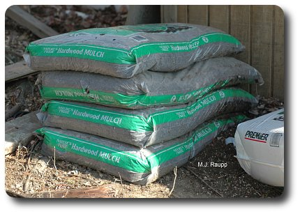 Bags of mulch in contact with the soil may be colonized by termites.