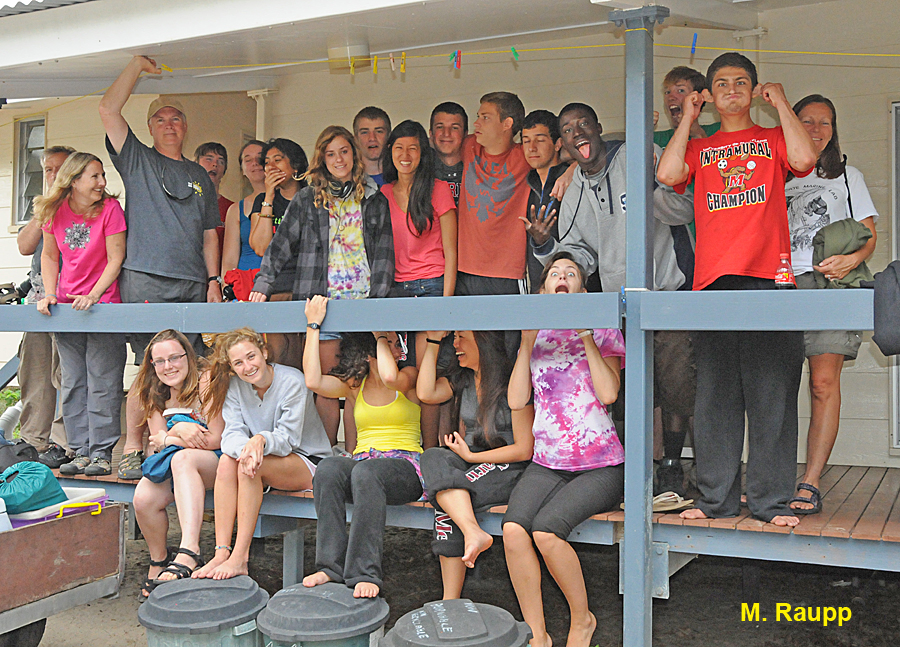 Students and faculty enjoy some shade on the deck of the barracks on Lizard Island.
