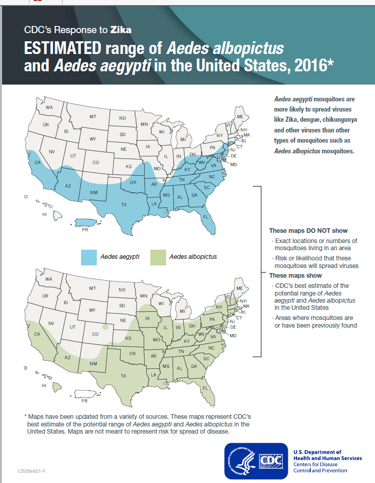 CDC recently updated range maps of the potential distributions of the yellow fever mosquito and the Asian tiger mosquito in the US. Please note that these maps do not indicate risk that mosquitoes will spread viruses in these areas.