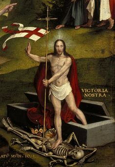 "Christ's victory over death.  Portion of ""An Allegory of the Old and New Testaments"" by Hans Holbein the Younger, 1530"
