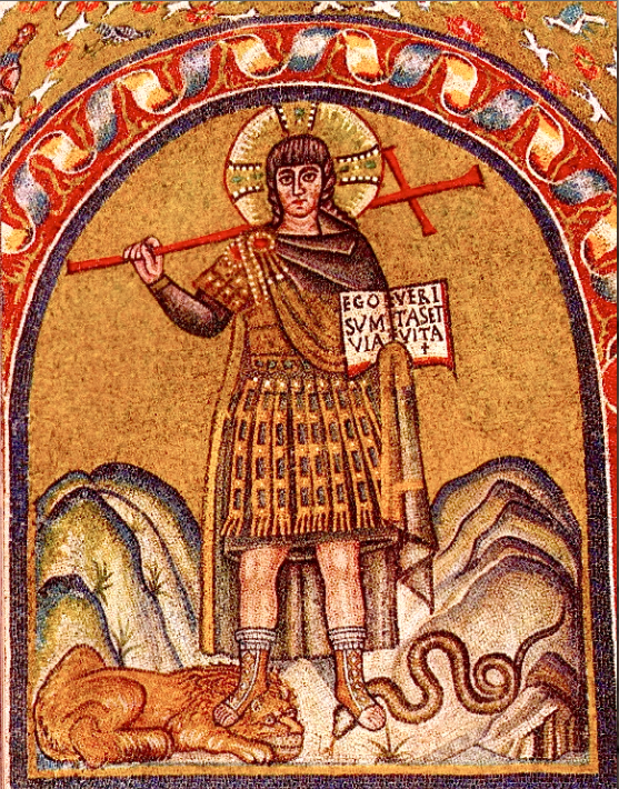 Christ Victorious over the Devil. Early Christian mosaic.