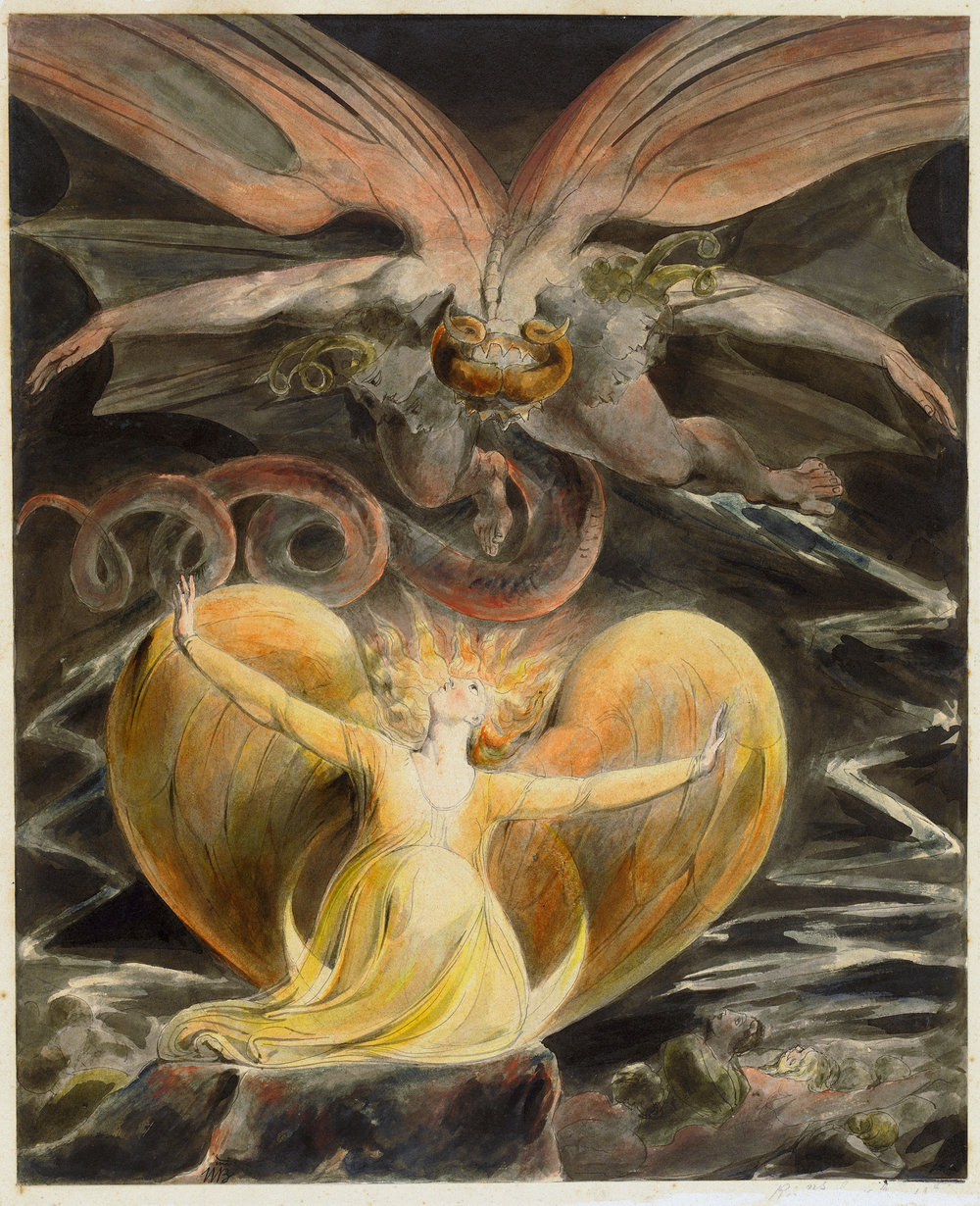 The Great Red Dragon and the Woman Clothed with the Sun  By William Blake, Public Domain, https://commons.wikimedia.org/w/index.php?curid=147895