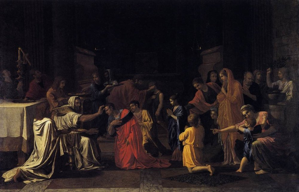 The Sacrament of Confirmation  - Nicolas Poussin 1645, [Public domain], via Wikimedia Commons.