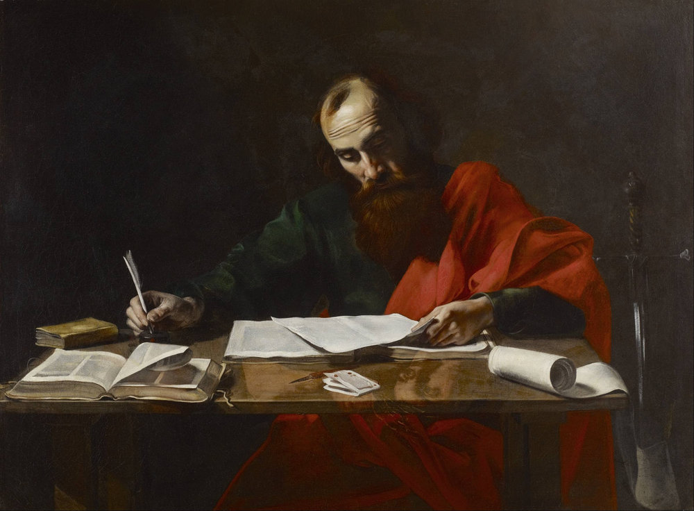 Paul Writing His Epistles  Attributed to Valentin de Boulogne Public Domain.